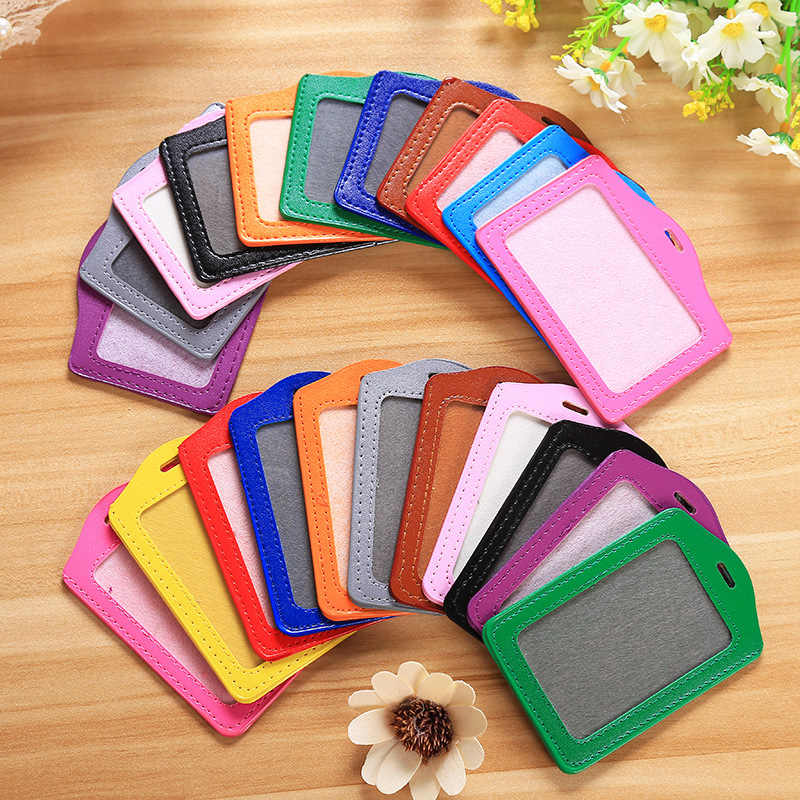 PU Card Holder Men Business Badge Card Case Women Employee Transparent Card Cover Student Lanyard Leather ID Name Card Holder