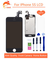 1psc Lcd Display Touch Screen With Digitizer Home Button Front Camera Replacement Part Assembly For Iphone5S