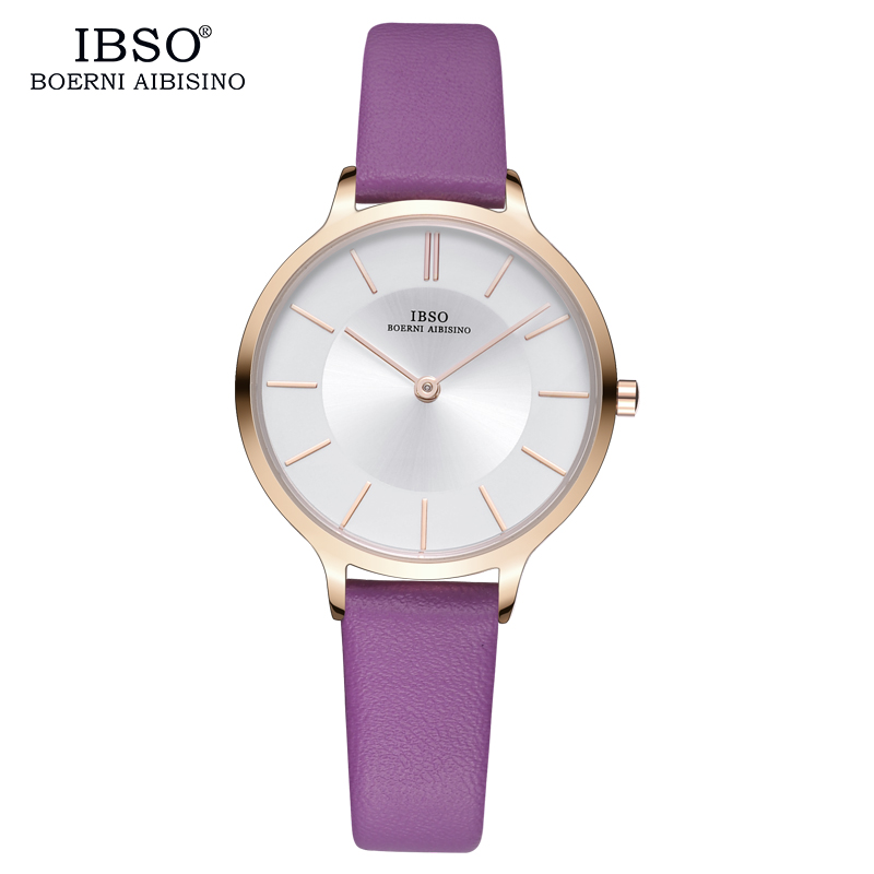 IBSO New Brand 8 MM Ultra-Thin Women Watches 2018 Purple Leather Quartz Watch Women Luxury Ladies Watch Montre Femme