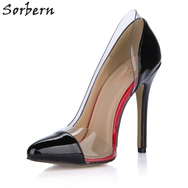 3efd7e253dc17 Sorbern Clear Pvc Black Patent Sexy High Heels Pointed Toe Stiletto Heel  Shoes 2018 New Side Hollow Out Womens Heels Ladies Pump