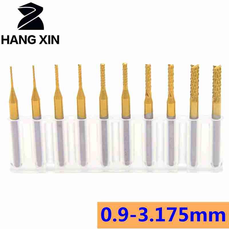 10PCS Titanium coated 0.8 mm PCB milling cutter CNC Rotary Burrs Cutters