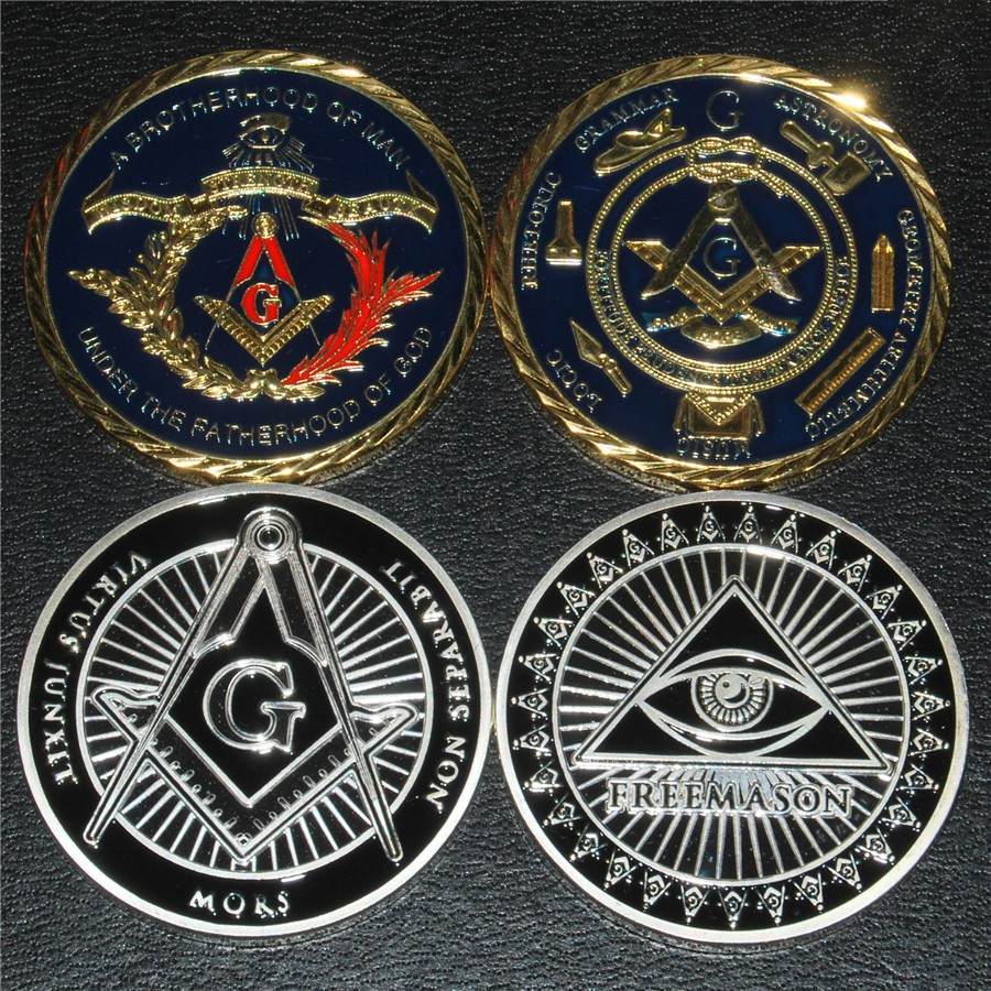 Free shipping Mix order 5+5 Freemasons masonic all-seeing eye coin England Free-masons coins silver gold Bauble
