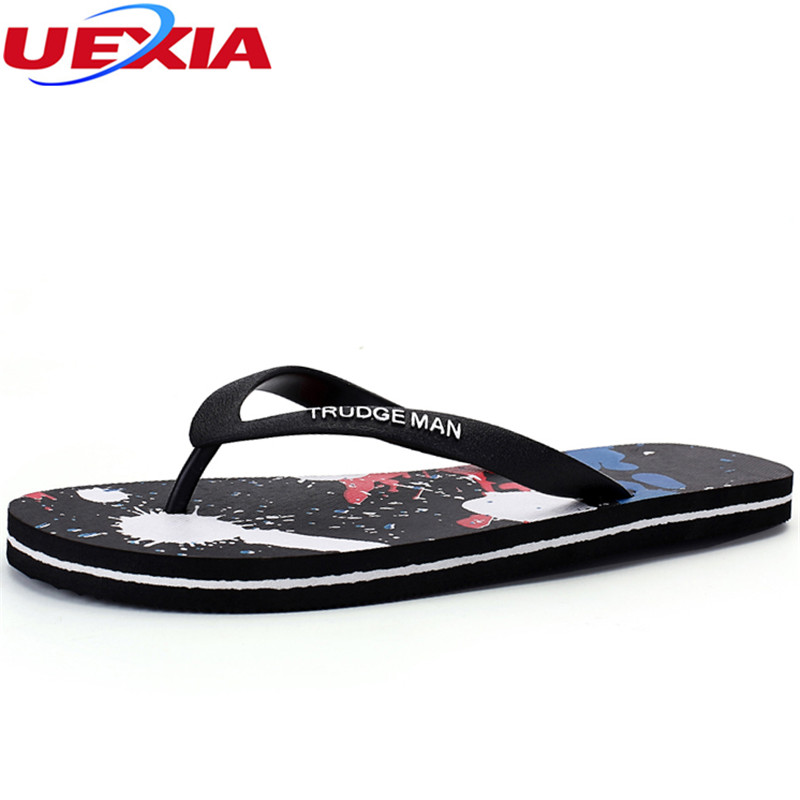 UEXIA 2019 Men Flip Flops Summer Men's Soft Bottom Shoes 2018 Outdoor Beach Men's Slippers Massage Male Footwear Shoes Sandalias