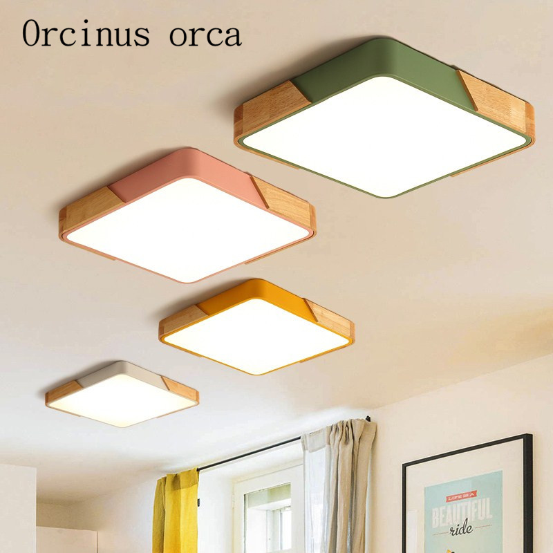 Modern minimalist Macarons color ceiling living room dining room bedroom wooden rectangular color mosaic led ceiling lamps vemma acrylic minimalist modern led ceiling lamps kitchen bathroom bedroom balcony corridor lamp lighting study