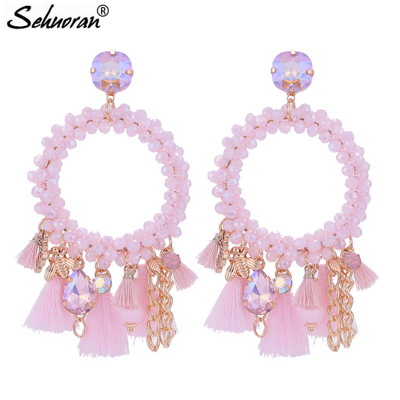 Sehuoran Tel Earrings For Woman Crystal Faceted Beads Handmade Boho Statement Oorbellen