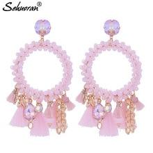 Sehuoran Tassel Earrings For Woman Crystal Faceted Beads Handmade Big Earrings Boho Woman Earrings Statement Earrings Oorbellen