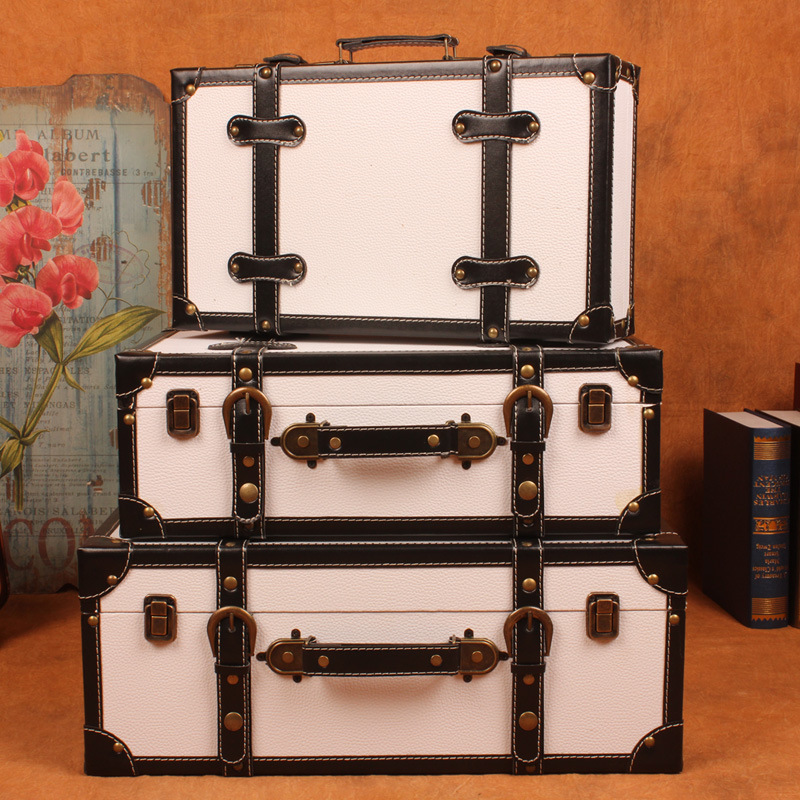 Factory Direct High Grade Storage Box Retro European Style Antique Suitcase  Storage Box Storage