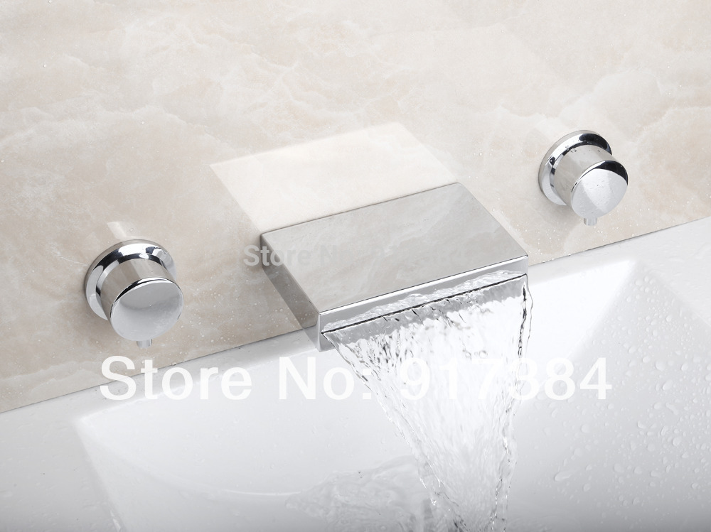 Ceramic  Double Handles Deck Mounted Waterfall Bathroom Bathtub Basin Sink Mixer Tap 3 pcs Chrome Faucet Set FG-312 wall mounted dual handles waterfall bathroom sink basin faucet chrome finish 3 holes basin mixer tap free shipping lt 302