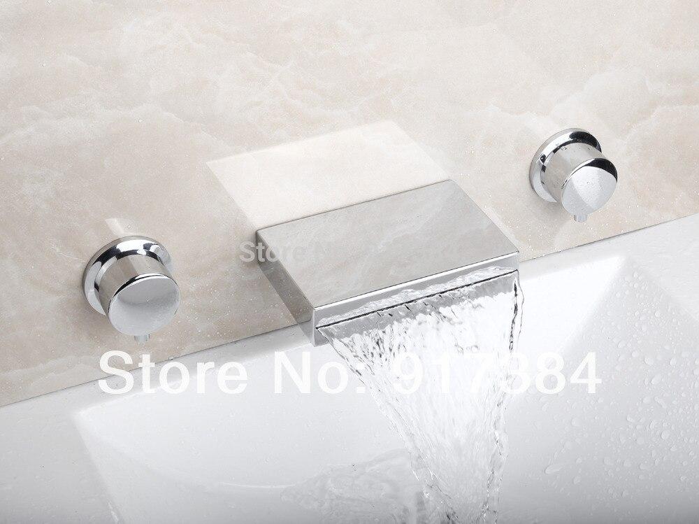 Ceramic  Double Handles Deck Mounted Waterfall Bathroom Bathtub Basin Sink Mixer Tap 3 pcs Chrome Faucet Set FG-312 free shipping polished chrome finish new wall mounted waterfall bathroom bathtub handheld shower tap mixer faucet yt 5333
