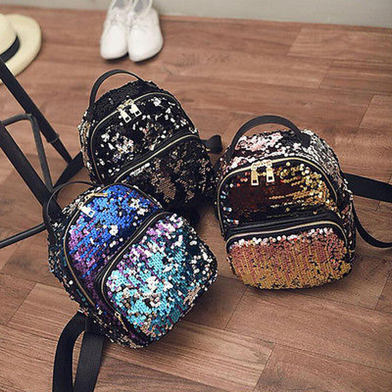 Women Girls New Backpack Fashion Sequins PU Leather Rucksack Shoulder School Bag Women Backpack