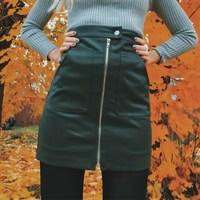 Bazaleas Autumn Vintage Double Pocket Preppy Short Skirt A Line Button Zipper Slim Mini Skirt Fashion
