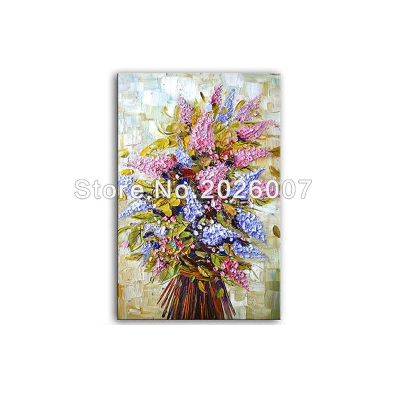 Peint à la main fleurs roses et violettes peinture à l'huile décor sur toile Art abstrait Palette épaisse couteau peinture salon