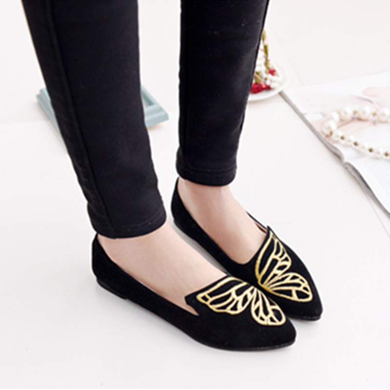 Women Flats Casual Solid Pointed Toe Slip-On Flat Shoes Soft Comfortable Women Shoes Embroidery Butterfly Ballet Flats Size 9 cootelili 36 40 plus size spring casual flats women shoes solid slip on ladies loafers butterfly knot pointed toe soft shoes