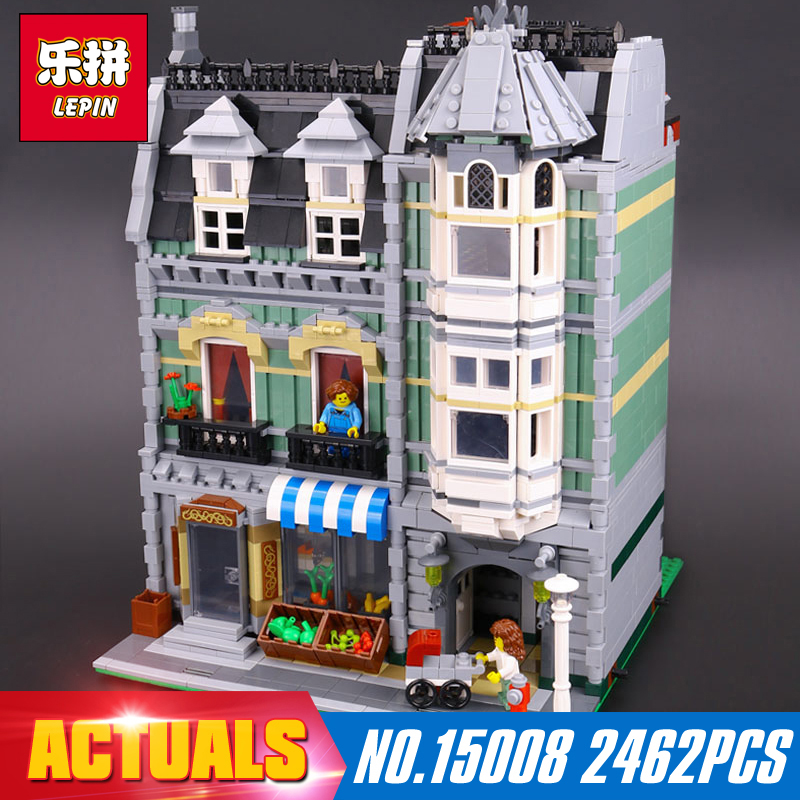 ФОТО Lepin 15008 2462Pcs City Street Creator Green Grocer Model Building Kits Blocks Bricks Compatible 10185