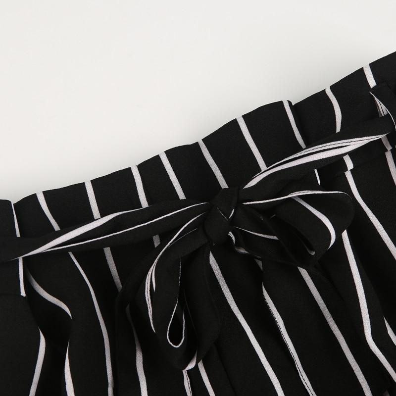 HDY Short Femme 2019 Women High Waisted Wide Leg Short Stripe Elastic Waist Shorts Feminino Plus Size haoduoyi Shorts Women M (7)