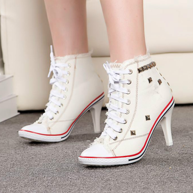 Livraison directe femmes toile chaussures Denim talons hauts Rivets chaussures mode chaussures lacets baskets femmes bottes courtes