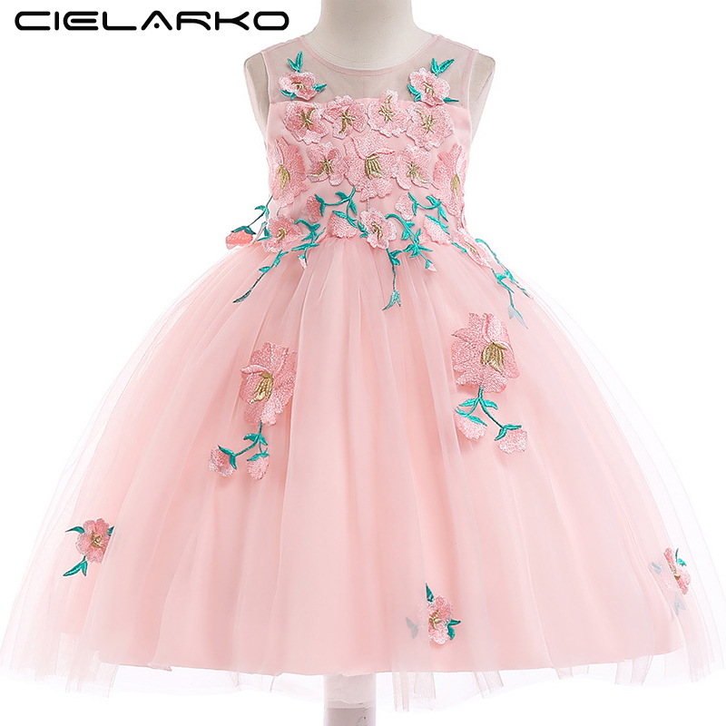 Detail Feedback Questions about Cielarko Girls Floral Dress Wedding  Birthday Party Kids Dresses Tulle Frock Fashion Children Clothing Formal  Outfits Pink ... be25135e3e25
