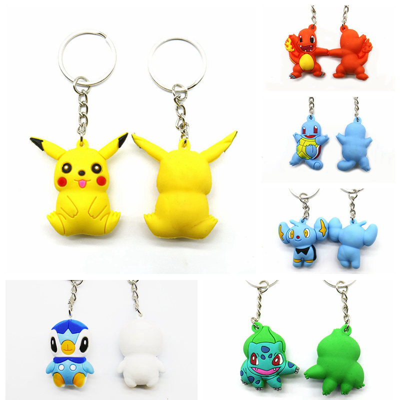 Cartoon Pokemon Pikachu Squirtle Psyduck Keychain Pocket Monsters Figure Key Chains Fit Bag Pendant Car Keyring Toy For Children