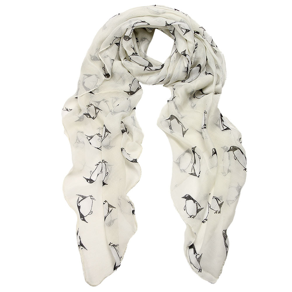 1PC Women Lady Penguin Print Shawl Voile Rectangle   Scarf   Women's Girl Floral Print   Scarf     Wrap   2017 Wholesale