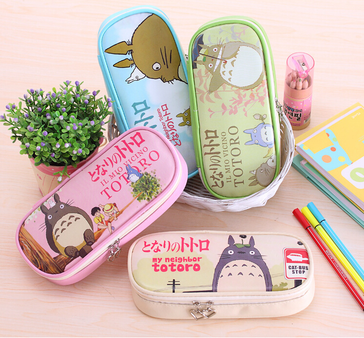 Cute Cartoon My Neighbor Totoro PU Leather Pencil Case Stationery Storage Organizer Bag School Supply Escolar Papelaria стоимость