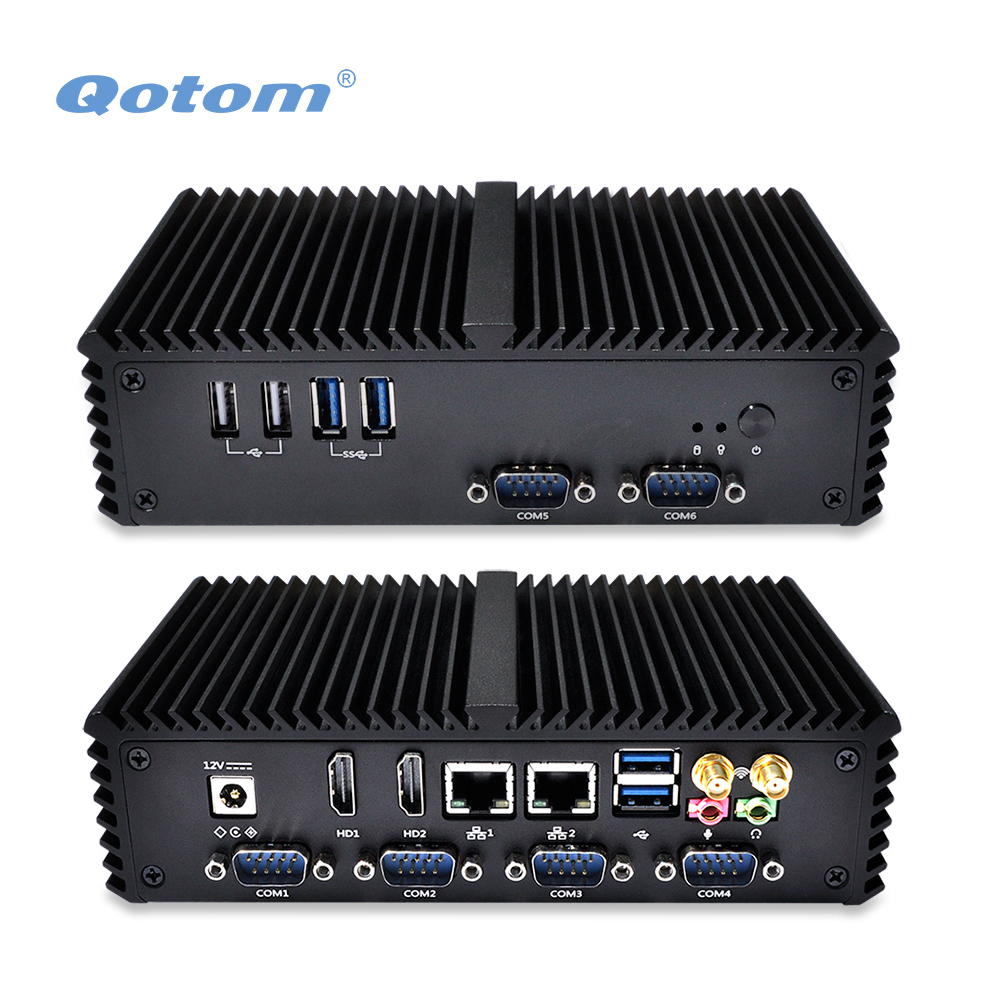 2016 QOTOM Mini PC Q310P with 2 LAN 6 USB 2 display port 6 COM RS232