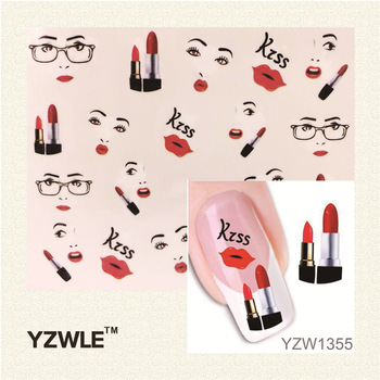 YZWLE 1 Sheet Sexy Lips Kiss Design Nail Art Stickers Water Transfer Tattoo Decals Decoration DIY