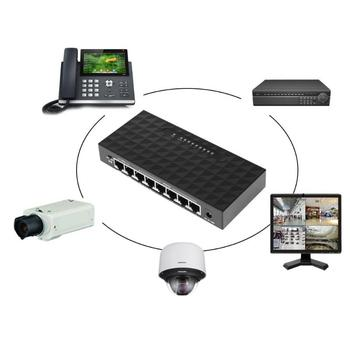 ALLOYSEED Network 8 Port Desktop Switch 10/100 Mbps Fast Ethernet Switcher Lan Hub Support 6-55V Power Supply
