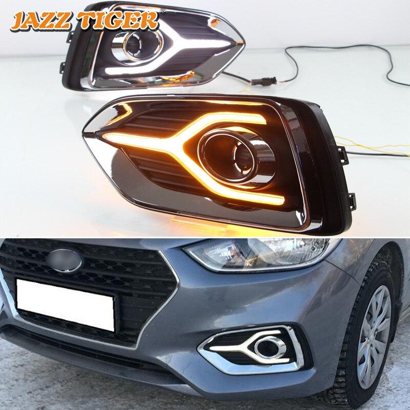 JAZZ TIGER 2PCS Yellow Turn Signal Function 12V Car DRL Lamp LED Daytime Running Light For Hyundai Accent Solaris 2017 2018 2019