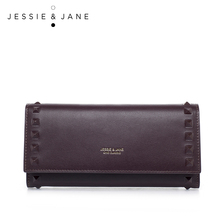 JESSIE & JANE 2016 New Simple Rivet Long Wallet Purse 5461 Fashion Ladies Leather Handbag