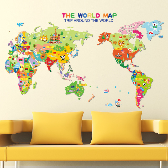 cartoon animals world map wall art mural poster colorful world map wall decals sticker world trip