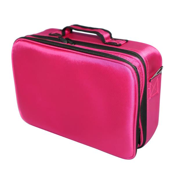 Nosii Professional cosmetic bag large capacity multi layer Oxford cloth with makeup artist travel storage bag rose red