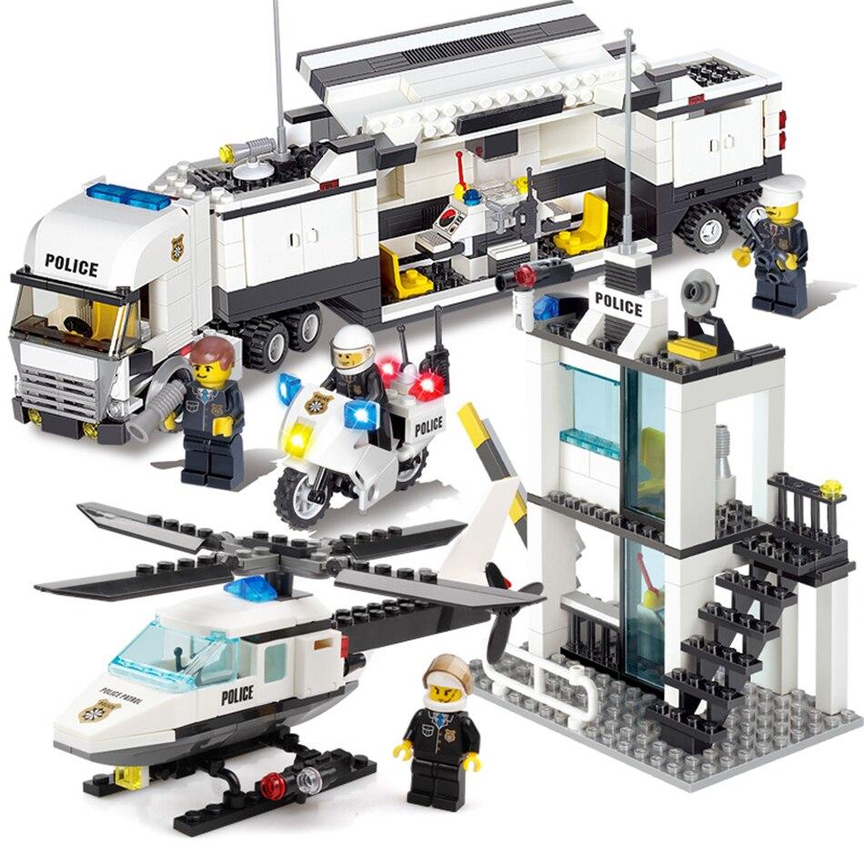 KAZI Police Station Trucks helicopter Building Blocks Set Compatible Legoe City DIY Construction Bricks Toys for children boys