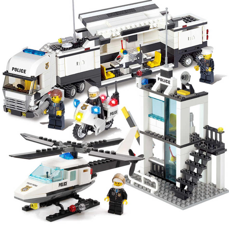 KAZI Police Station Trucks helicopter Building Blocks Set Compatible Legoe City DIY Construction Bricks Toys for children boys police station swat hotel police doll military series 3d model building blocks construction eductional bricks building block set
