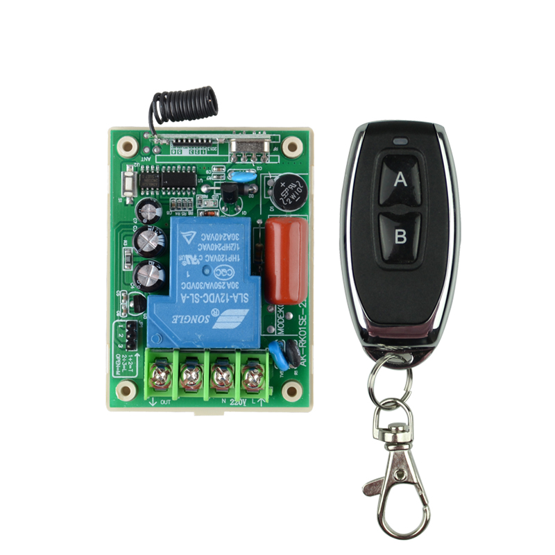 Remote Control Switches AC 220V 30A Relay Receiver Metal Transmitter Motor LED Water-Pump Wireless Switch 315 433 Learning Code remote control switches dc 12v 2ch receiver long range remote control transmitter 50 1000m 315 433 rx tx 2ch relay learning code