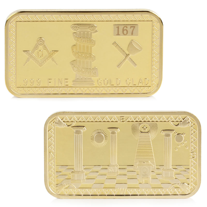 Gold Plated Masonic Commemorative Challenge Coin Collection Collectible font b Physical b font