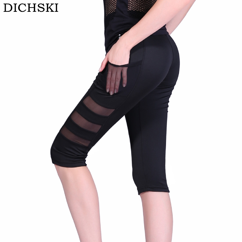 DICHSKI New Yoga Leggings Capri Pants Leggins Sport Women Fitness Yoga Pant Gym Legging Women Black Mesh 3/4 Pocket Calf-Length