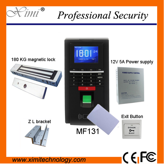 Biometric fingerprint access control and time attendance MF131, color screen, RS485 TCP/IP communications, 13.56 MHz Mifare zk multibio700 face access controller tcp ip usb face and fingerprint time attendance and door security access control system