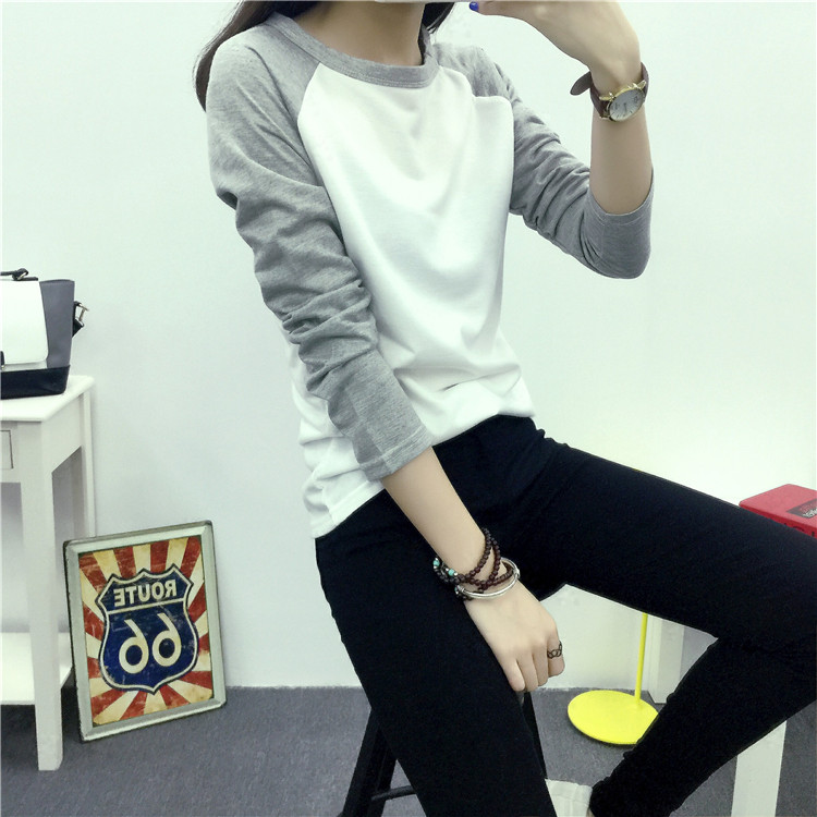 Patchwork Long Sleeve T-shirt Casual Top Cotton  New Spring Autumn Women T-shirts Raglan Sleeve Tshirt Candy Colors Tees Basic