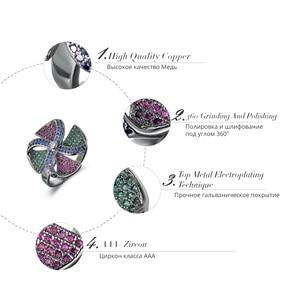 Image 5 - Viennois בציר כסף צבע נחושת אצבע טבעת עבור נשים צבעוני זירקון סלול טחנת רוח נשי גודל טבעת מסיבת תכשיטים