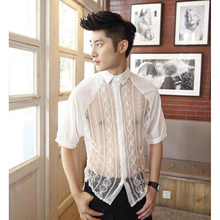 Men Transparent Shirts Half Sleeve Summer Shirts Sexy White  Chiffon Lance Splicing Vintage Style Shirts Men's Clothing