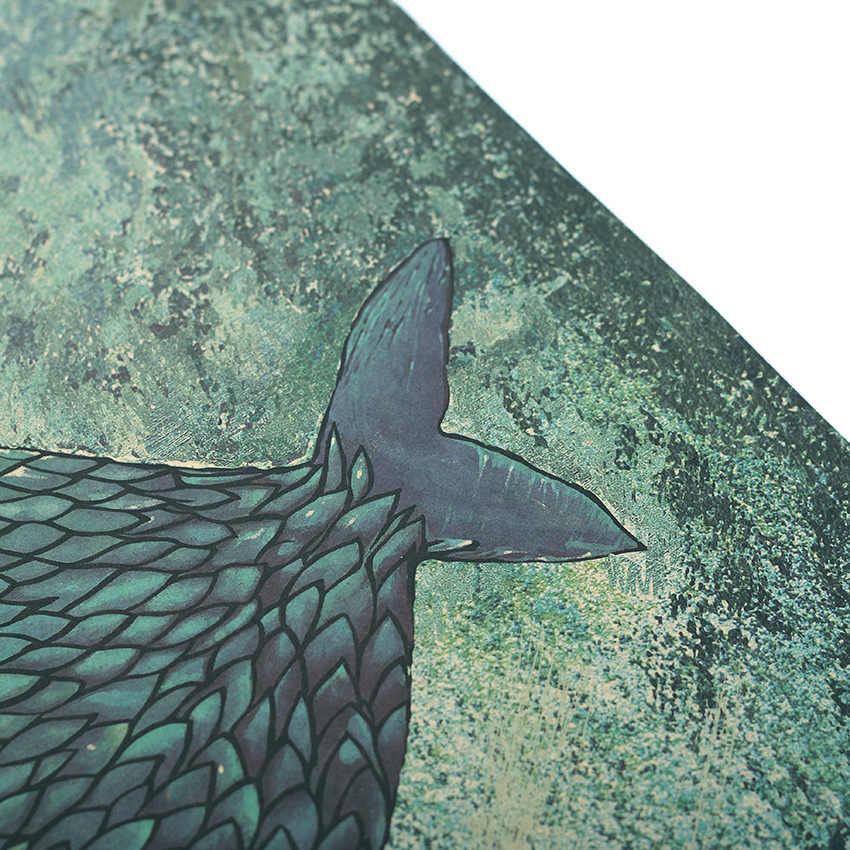 TIE LER большая рыба маленький дом из крафт-бумаги плакат Детская Спальня украшение бескаркасные ретро, ВИНТАЖНЫЙ ПЛАКАТ стикер на стену