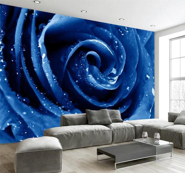 Custom 3d Photo Wallpaper Hd Clear Blue Red Rose Art Living Room