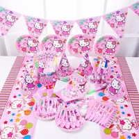 1 set Hello Kitty Theme Party Supplies Tableware Plate Napkins Cup Cartoon Birtday Party Loot bag Hat Flag Baby Shower Favors