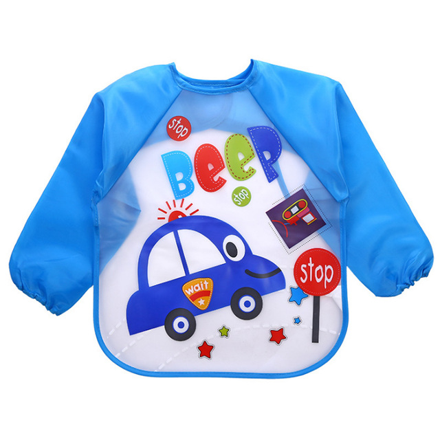 Baby Bibs Waterproof Burp Cloths Lunch Feeding Apron Boy Girl Toddler Long Sleeve Bib Kids Cute Cartoon for 1-5 Years