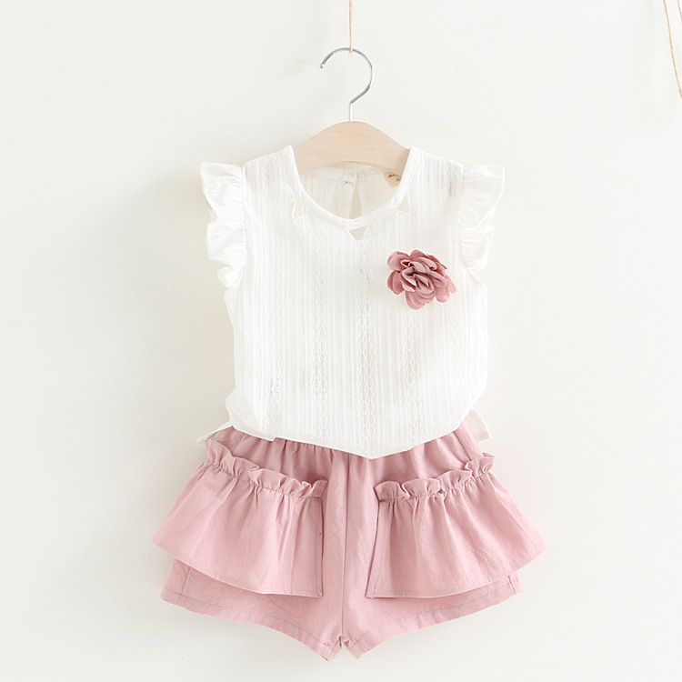 Summer children's suit sets the daughter of the Korean version of the sleeve flying sleeve T+ two short sleeved shorts1526223243