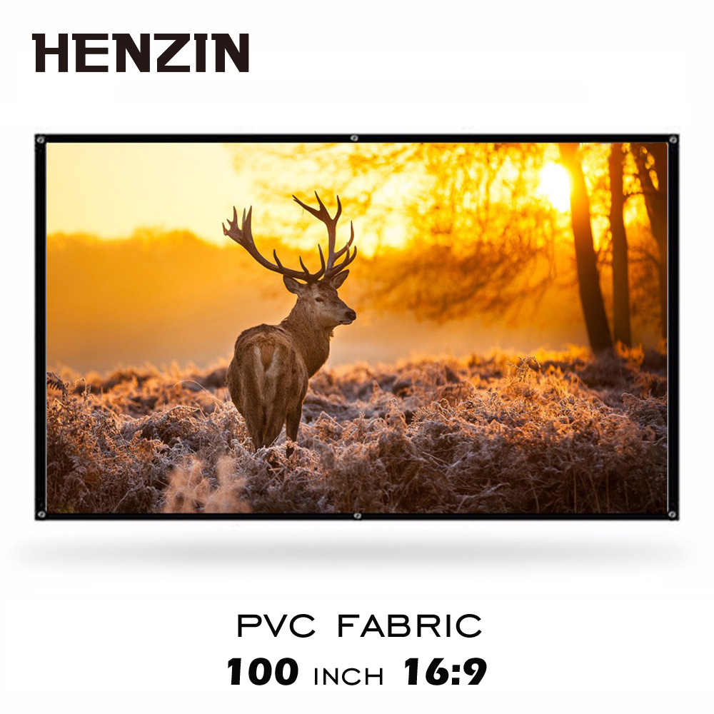 100 inch 16:9 Simple Wrap Fabric Rolled Up Projection Screen 100 16:9 HD Portable Projector Screen for Home Theater Meeting everyone gain projection screen 40 inch 16 9 table screen projector hd screen portable easy carry proyector screen fabric