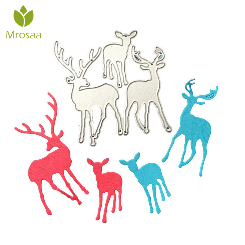 Mrosaa Hot 3Pcs/set Christmas Deer Metal Cutting Dies Stencil DIY Scrapbooking Craft Album Paper Card Christmas decoration dies