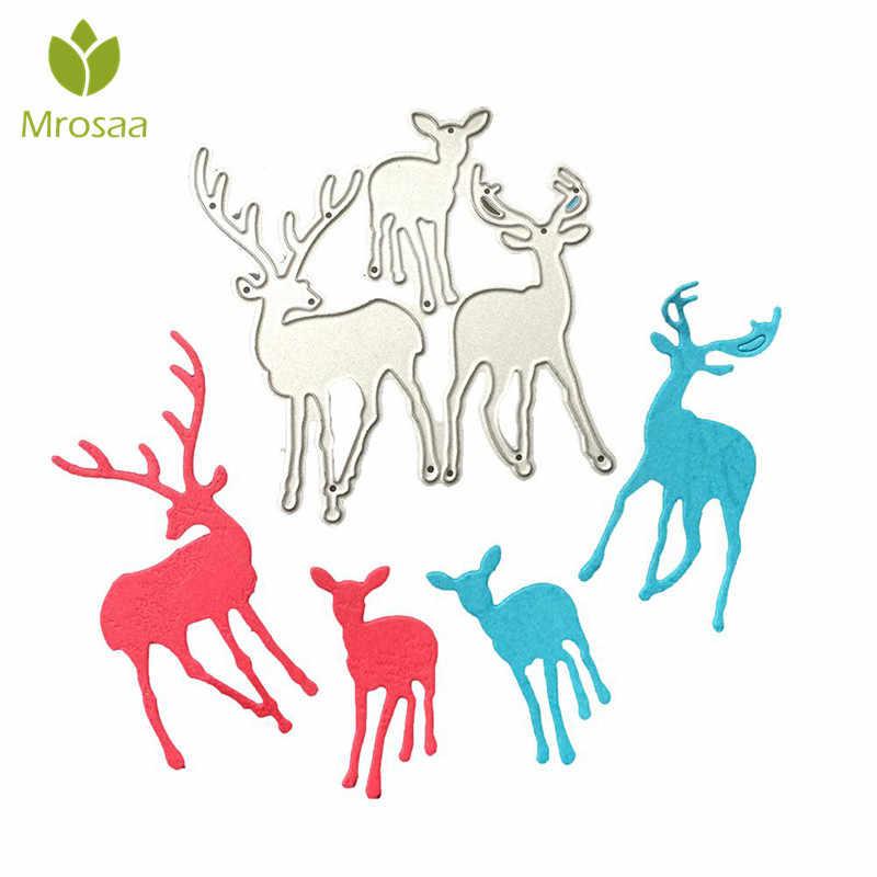 Mrosaa 3 pçs/set Cervos Do Natal Quente Corte De Metal Morre Stencil DIY Ofício Scrapbooking Álbum Cartão de Papel decoração de Natal morre