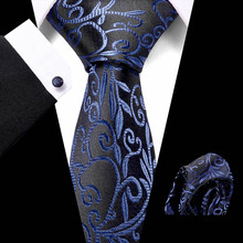 Vangise Men`s Classic Tie 100% Silk Novelty Floral 50 Styles Hanky Cufflinks Sets For Wedding Business Party
