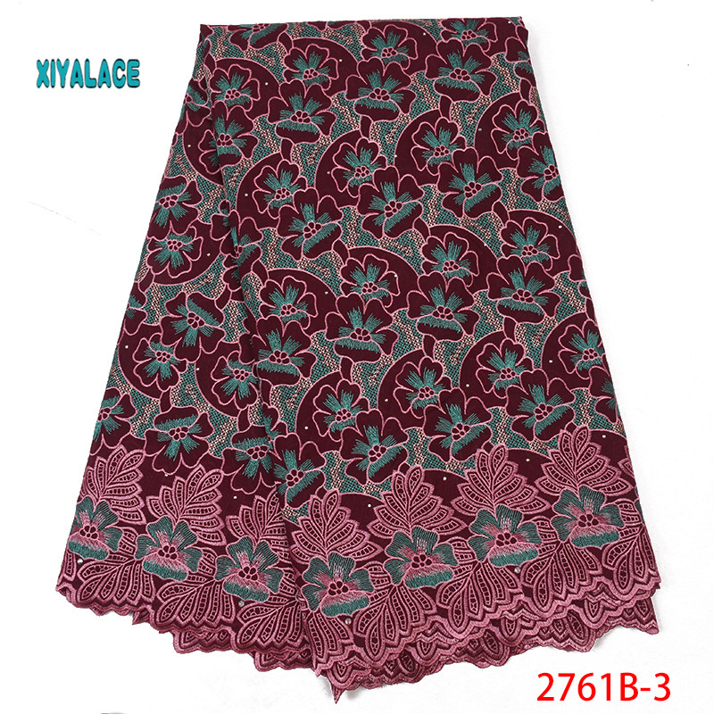 2019 Best Selling Swiss Voile Laces African Fabric Nigerian French Fabric Purple High Quality Nigeria Tulle Cord Lace  YA2761B-3